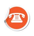 phone icon orange sticker vector image vector image