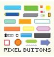 Pixel art buttons set vector image vector image