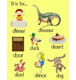 Poster words for letter D vector image
