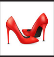 realistic detailed 3d woman high heel red shoes vector image vector image