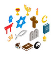 religion isometric 3d icons set vector image vector image