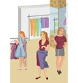 Retro girls in the store picking clothes vector image vector image
