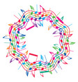 round colorful background of music notes vector image vector image