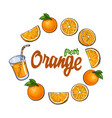 round frame of oranges and juice with place for vector image vector image