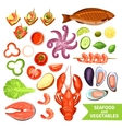 Seafood And Vegetables Icons Set vector image
