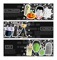 set horizontal banners about halloween vector image