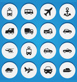 set of 16 editable transport icons includes vector image vector image