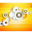 Set of cogwheels on orange background and place vector image