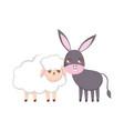 sheep and donkey animals cartoon vector image