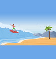 surfer people surf ride water wave on sea beach vector image vector image
