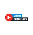video tutorial icon webinar training vector image vector image
