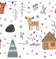 winter forest background with animals and trees vector image vector image