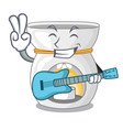with guitar aroma lamp with burning candle mascot vector image