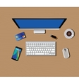 workspace with computer keyboard mouse coffee vector image