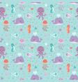 sea animals seamless pattern fish corals starfish vector image
