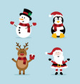 christmas snowman penguin reindeer and santa vector image
