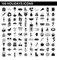100 holidays icons set simple style vector image vector image