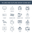 16 show icons vector image vector image