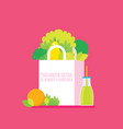 bag with healthy food vegetables fruits greens vector image vector image