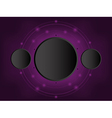 black circle 3D paper on dark purple background vector image