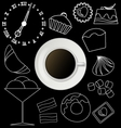 Board with coffee cup plate and design sweet vector image