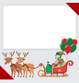 border template with elf and reindeers vector image vector image