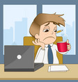 boring businessman drink coffee in office vector image vector image