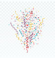 burst of colorful confetti and streamers festive vector image vector image