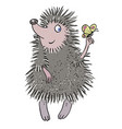 cartoon image of cute hedgehog vector image vector image