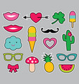 cartoon stickers set vector image