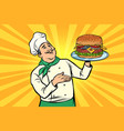 chef with burger cooking fast food restaurant vector image