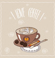 cup of coffee with pattern of milk foam vector image