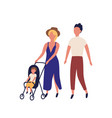 cute family walking together adorable mother vector image vector image