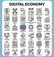 digital economy concept icons vector image