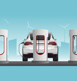 electric cars with charging stations vector image vector image