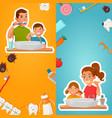 family hygiene of teeth vertical banners vector image
