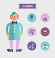 Flat Design of Clown with Icon Set Infographic vector image