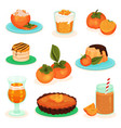flat set of persimmon drinks and food vector image vector image
