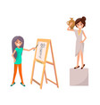 girl drawing still life picture of woman with vase vector image vector image