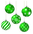 green christmas balls with different patterns vector image vector image