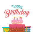 happy birthday cake gift box background ima vector image