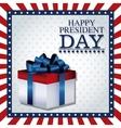 happy president day gift box ribbon frame flag vector image