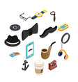 hipster style isometric 3d icons set vector image vector image