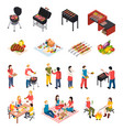 isometic bbq grill picnic icon set vector image