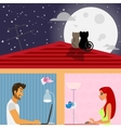 man and woman in social networking vector image vector image