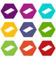 metal panel icons set 9 vector image