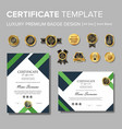 modern green certificate with badge vector image