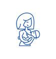 mother breastfeeding baby line icon concept vector image