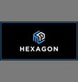 mp hexagon logo design inspiration vector image vector image