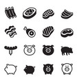pig pork icons set vector image vector image